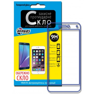 "Захисне скло (Tempered Glass) ""DENGOS"" для iPhone 6, 2.5D, біла рамка"